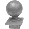 "Cast Iron Post Ball.  Drives In 1-1/2"" Square."