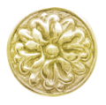 "Brass Rosette,Threaded Hole 1/4"", 2"" Diameter"