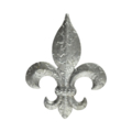 "Stamped Steel Fleur-de-Lis Hammered Finish 4"" tall"