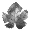 "Stamped Steel Grape Leaf.  3-3/8"" Width, 3-3/8"" Height."