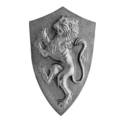 "Cast Iron Prancing Lion Plaque. 5-1/2"" W, 9"" H"