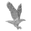 "Stamped Steel Eagle. 4-3/8"" W,6-1/2"" H"